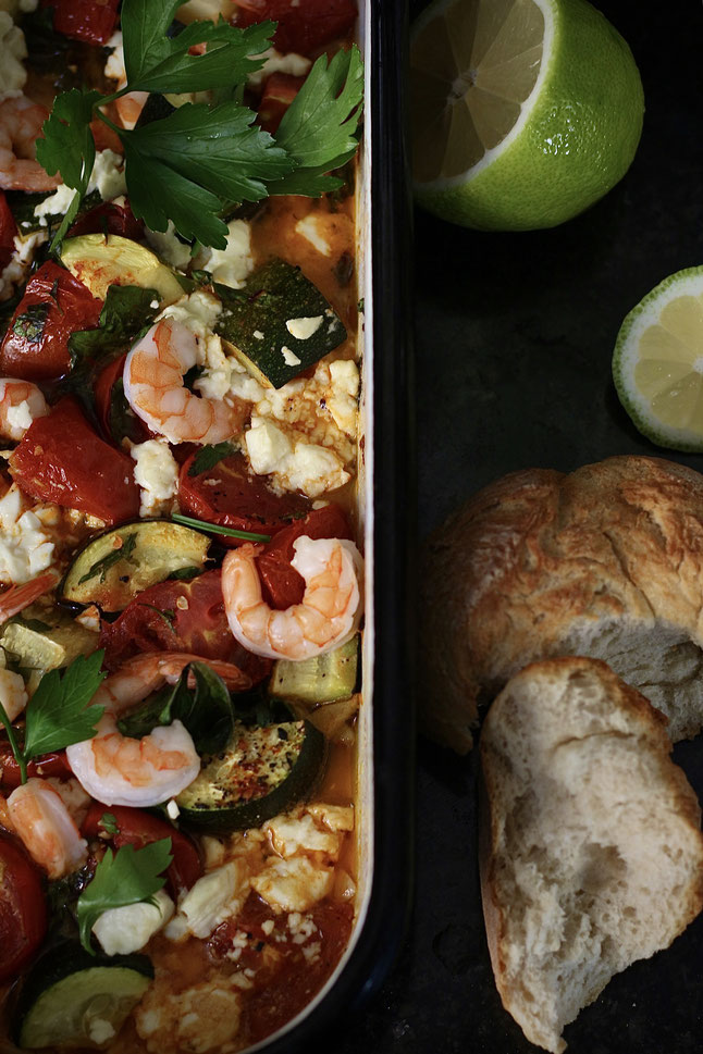 Roast Tomato and Feta Prawns