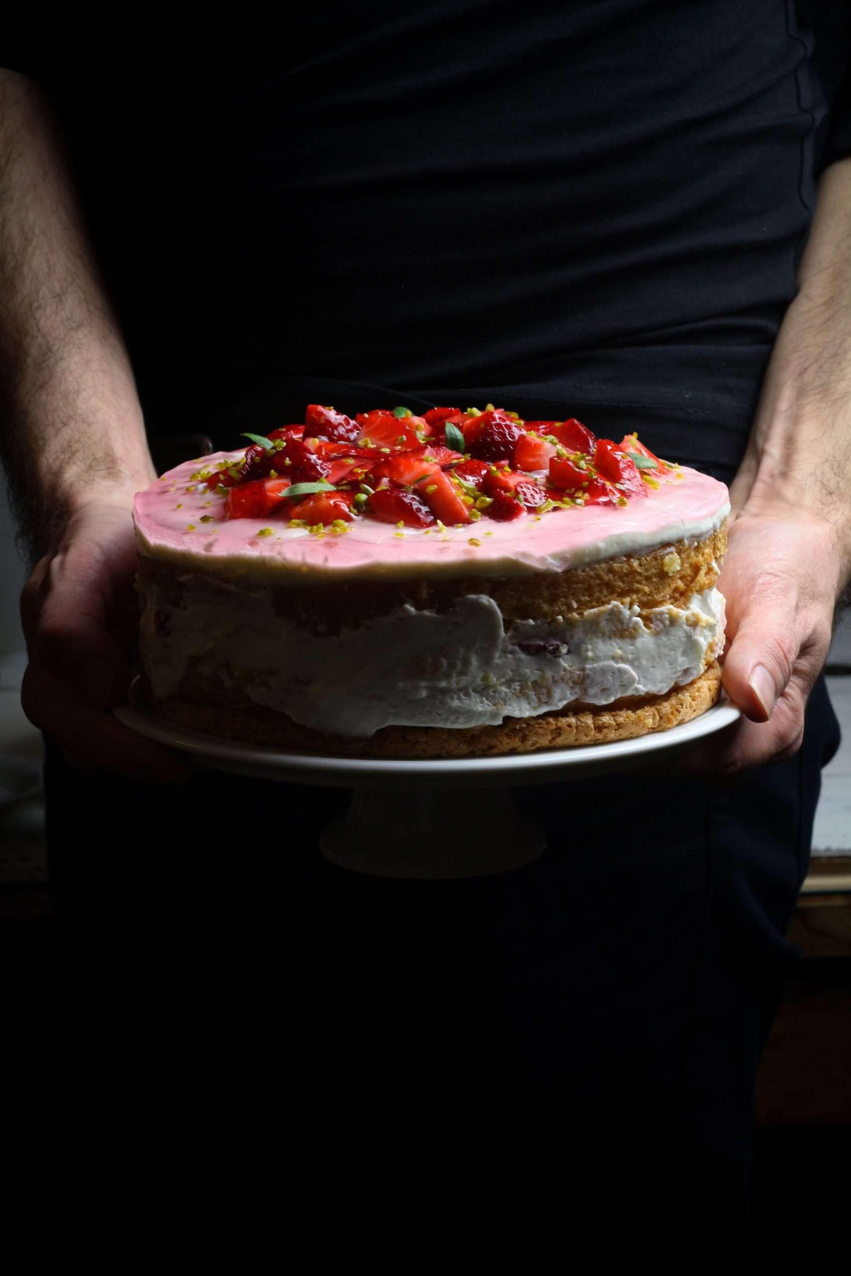 German Strawberry Cream Torte