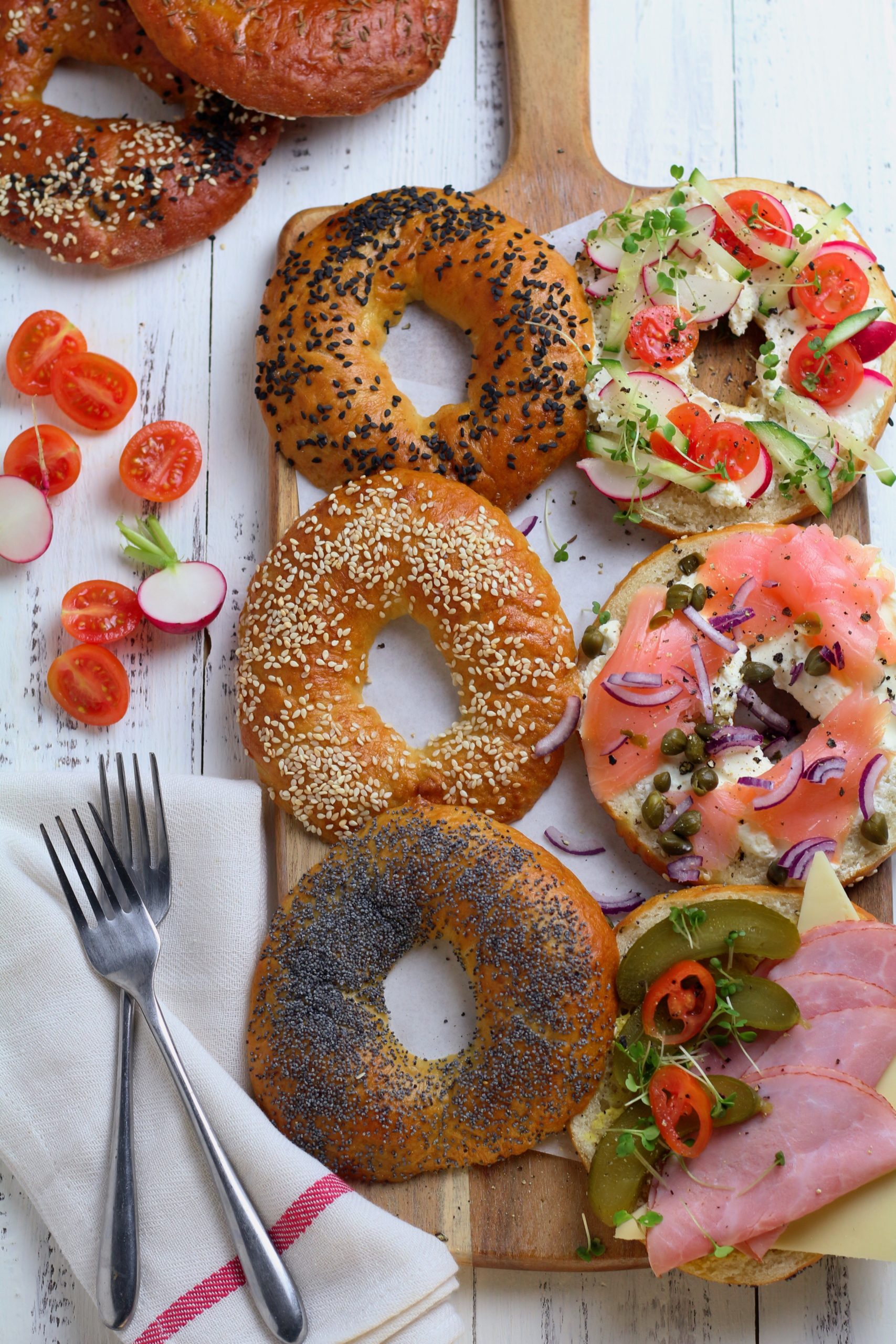 Homemade Sesame Bagels with toppings