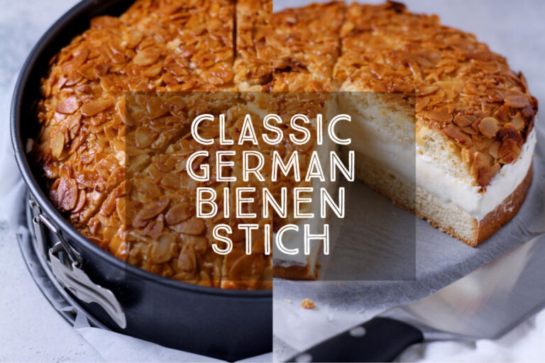Sweet yeast dough, vanilla custard cream and a crunchy honey almond topping - it can only be a Classic German Bienenstich or Bee Sting Cake. This most beloved of German cakes is perfect for afternoon tea.